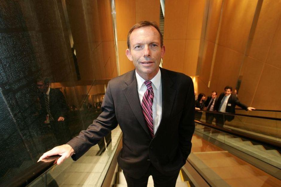 On the ascent… Tony Abbott arrives at the Australia Israel Leadership Forum.